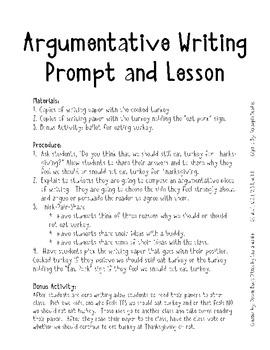 Thankgsgiving Argumentative Writing  CC W.1.1, W,1.2, W.1.3, W.1.4