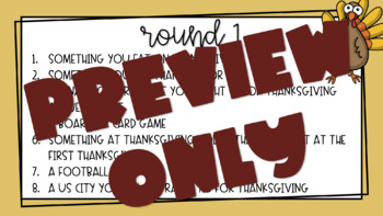 Thanksgiving Scattergories Game Ppt Six Rounds By Mrs Clarks Class