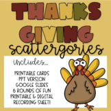 Thanksgiving Scattergories Game & PPT *SIX Rounds