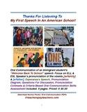 My First Speech In An American School! ESL Speaking Skills