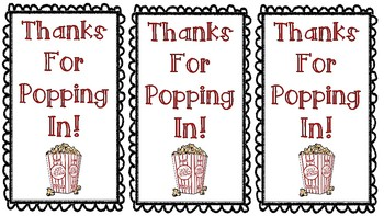 Thanks For Popping In Popcorn Themed Open House Notes