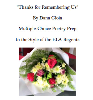 Thanks For Remembering Us Dana Gioia Common Core ELA Poetry Multiple Choice Prep