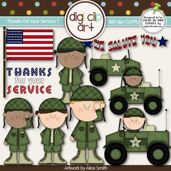 Thanks For Your Service 1-  Digi Clip Art - CU Clip Art