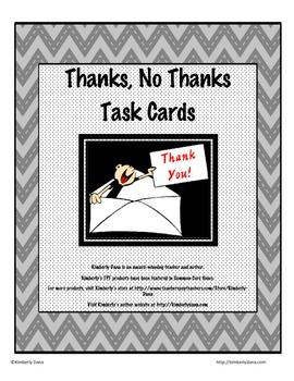 Thanks - No Thanks Persuasive Writing Task Cards