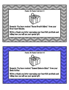 Thanks - No Thanks Persuasive Writing Task Cards