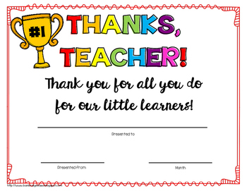 Thanks Teacher!- Printable Teacher Award