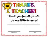 Thanks Teacher!- Printable Teacher Award