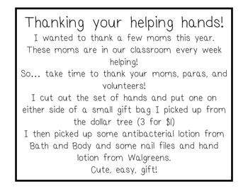 Thanks You Labels for Parents, Paras   Take Care of Your Helping Hands!