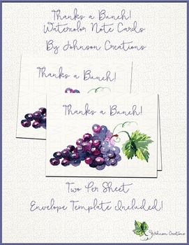 Thanks a Bunch! Watercolor Note Cards