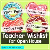 Thanks a Hole Bunch: EDITABLE Open House Teacher Wishlist