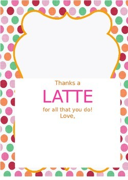 photograph regarding Thanks a Latte Christmas Printable named Because of A Latte Printable Xmas Worksheets TpT