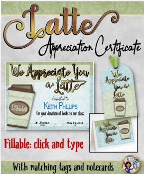 Thanks a Latte Certificate 1 with Matching Tag and Notecard