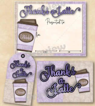 Thanks a Latte Certificate 2 with Matching Tag and Notecard