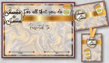 Thanks a Latte Certificate 4 with Matching Tag and Notecard