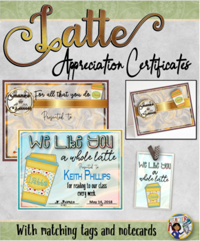 Thanks a Latte Certificates with Matching Tags and Notecards