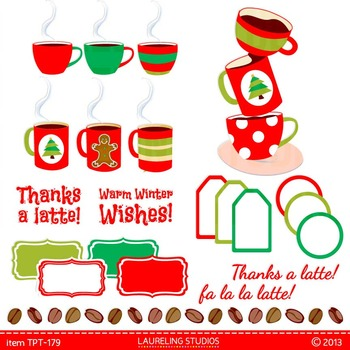 Thanks a Latte clipart for teacher gifts with digital frames/labels TPT197
