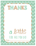 Thanks a latte Appreciation Card