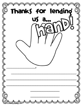 Thanks for Lending Us a Hand- Easy 'Thank You' End of Year Freebie!