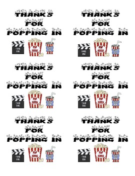 """""""Thanks for Poppin' In"""" Popcorn label FREEBIE"""