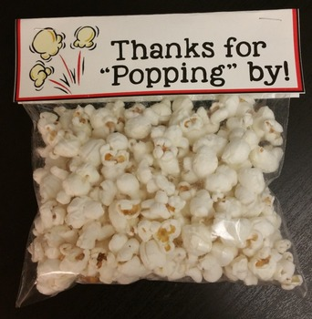 Thanks for Popping By! Popcorn Label for Open House or Back to School Treat