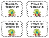 Thanks for Popping In! - Open House Parent Treat {FREEBIE}