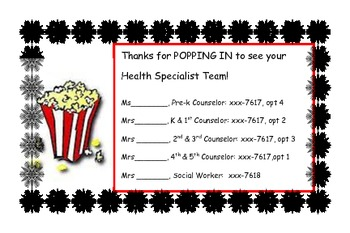 Thanks for Popping In Parent Teacher Conference tags for counselors or teachers