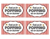 """Thanks for Popping Into Our Classroom"" Printable- FREEBIE!"