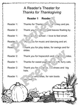 Thanks for Thanksgiving by Julie Markes - A Thanksgiving Reader's Theater