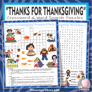Thanks for Thanksgiving Activities Markes Crossword Puzzle and Word Searches
