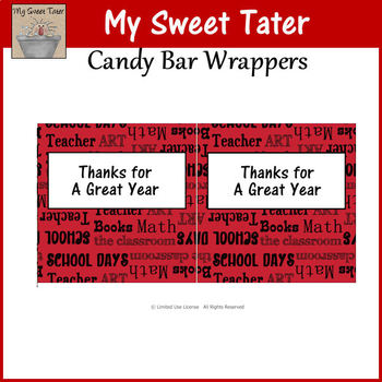 Thanks for a Great Year Candy Wrapper Black and Red