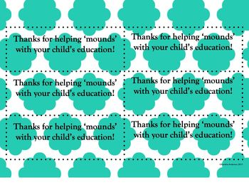 Thanks for helping 'mounds' with your child's education! {Parent gift}