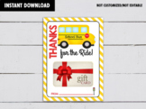 Thanks for the Ride, School Bus Driver Appreciation Gift Card Holder