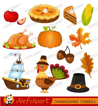 ThanksGiving Clipart.  Fall Haverst.ThanksGiving Day Illustration