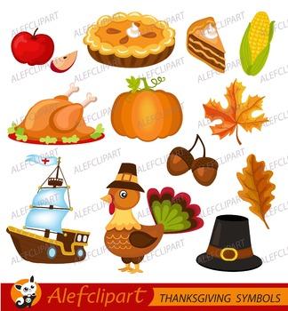 ThanksGiving Clipart.  Fall Haverst.ThanksGiving Day Illustration