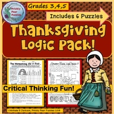 Thanksgiving Puzzle Pack,  Logic Puzzles, Critical Thinking, Brain Teasers
