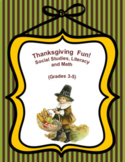Thanksgiving Social Studies Literacy and Math Grades 3 to 5