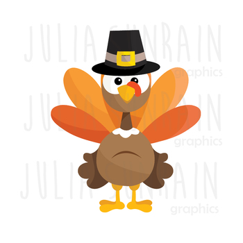 Thanksgivig Turkey Clipart Set - Instant Download