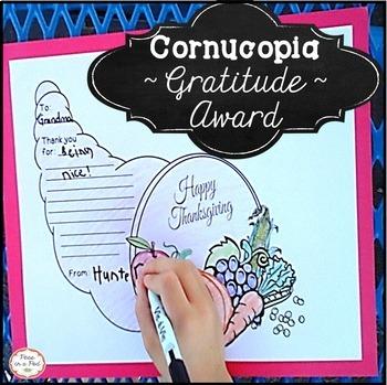 Thanksgiving Crafts Cut and Paste Cornucopia Craft, Gratitute Award, & Hat!