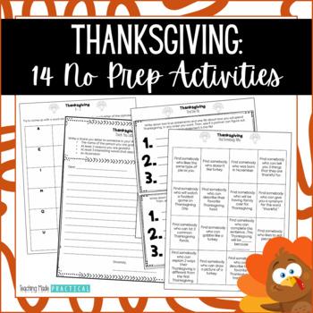 Thanksgiving Activities - Thanksgiving Literacy Centers - Thanksgiving No Prep