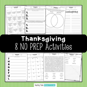 Thanksgiving Activities - Thanksgiving Literacy Centers -