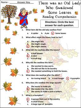 Thanksgiving Reading Activities: Old Lady WHo Swalllowed Some Leaves