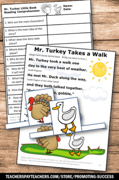 Thanksgiving Craftivity Kindergarten & 1st Grade, Thanksgiving Literacy Centers