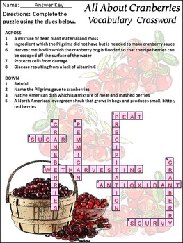 Thanksgiving Reading: All About Cranberries Activity Bundle - Color & BW