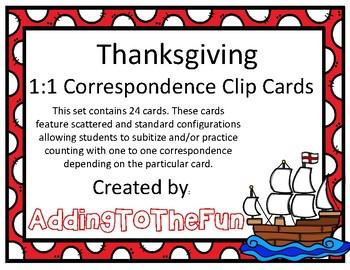 Thanksgiving 1:1 Correspondence Clip Cards