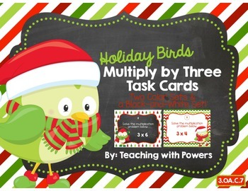 Holiday Multiply by Three Task Cards