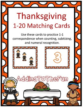 Thanksgiving 1-20 Matching Cards