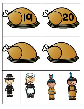 Thanksgiving 1-20 Pocket Chart Game