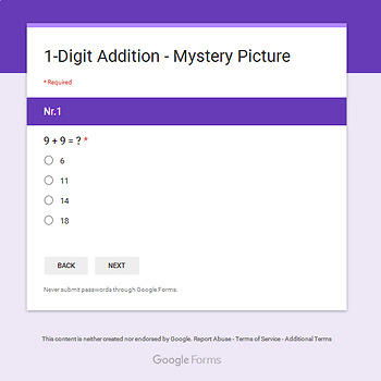 Thanksgiving: 1-Digit Addition - Mystery Picture - Google Forms