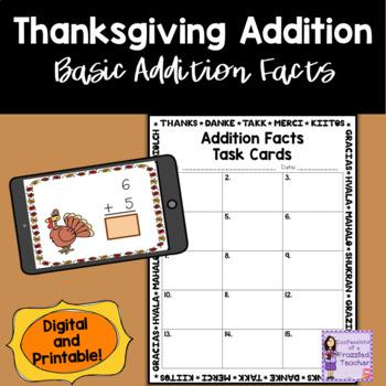 Thanksgiving 1 Digit Task Cards