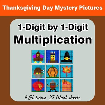 Thanksgiving: 1-Digit by 1-Digit Multiplication Color-By-Number Math Mystery Pictures
